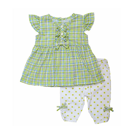 Torio Bright Green Checkers Dress & Legging Set