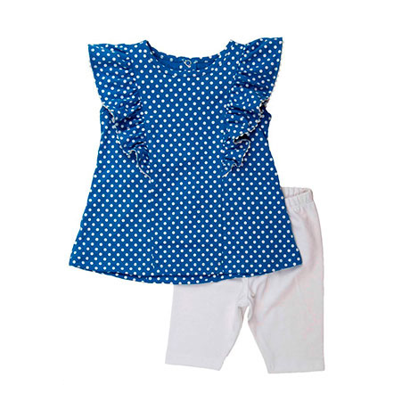 Torio Blue Polkadot  Legging Set